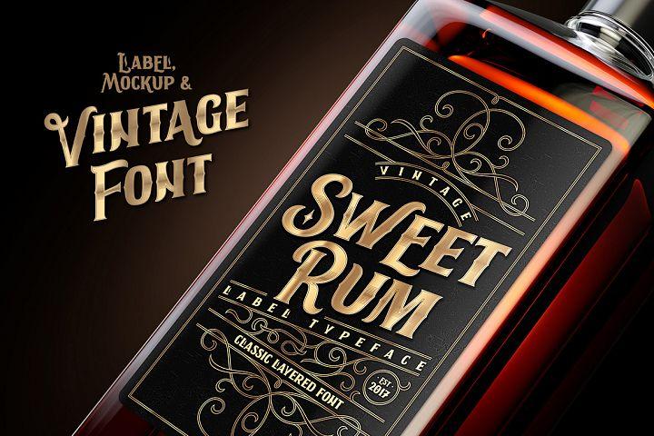 Sweet Rum Font, Label, Mockup