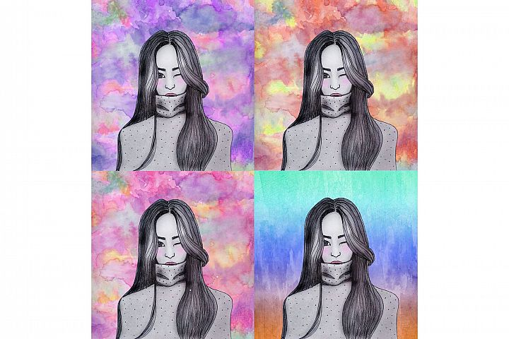 Hand drawing winking girl