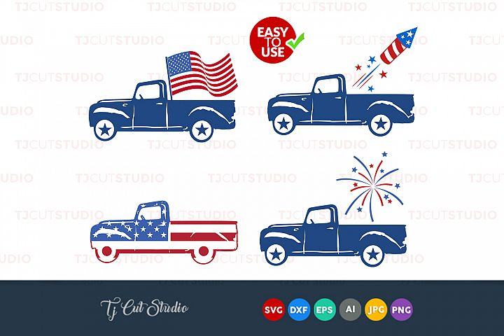 Truck svg, 4th of july svg, vintage truck , Files for Silhouette Cameo or Cricut, Commercial & Personal Use.