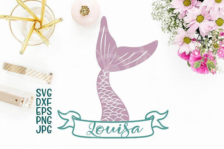 mermaid tail svg, fish tail svg file, mermaid tail split monogram, banner, ribbon, horizontal monogram for name, cricut silhouette, dxf png