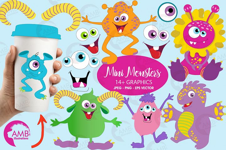 Mini monsters, cute monsters clipart, graphics and illustration AMB-552
