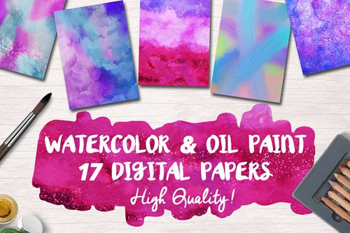 Free Watercolor & Oil Paint 17 Digital Papers
