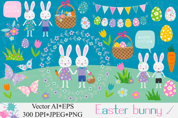 Easter bunny clipart / Easter rabbit, eggs vector graphics / Easter bunnies illustration / Spring clipart
