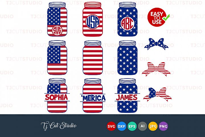 4th of July Mason Jar SVG, Independence day svg, Files for Silhouette Cameo or Cricut, Commercial & Personal Use.