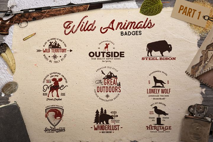 Wild Animals Badges - Free Design of The Week