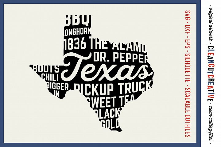 Texas State design - SVG DXF EPS PNG - Cricut & Silhouette - clean cutting files