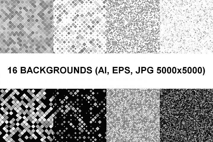 16 Seamless Square Backgrounds (AI, EPS, JPG 5000x5000)