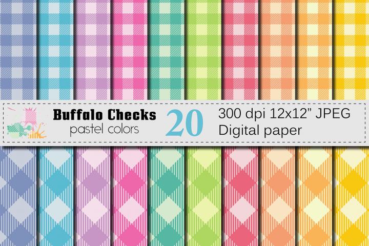 Buffalo Plaid Pastel Digital Paper / Buffalo Checks Pastel backgrounds