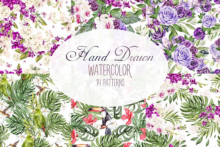 Hand Drawn Watercolor 14 PATTERNS