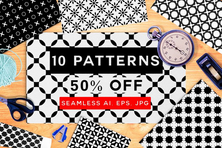 10 Geometric Floral Patterns 50% off