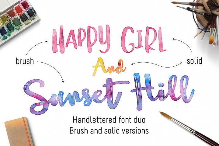 Happy Girl & Sunset Hill Font Duo