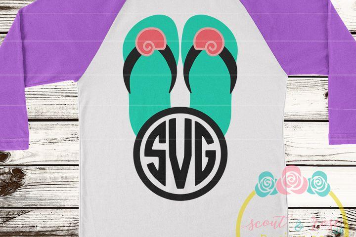 Seashell Flip Flip Monogram Frame SVG DXF PNG