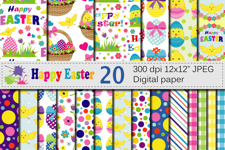 Bright Easter Digital Paper / Happy Easter chick and eggs backgrounds / Easter pattern / Scrapbooking paper