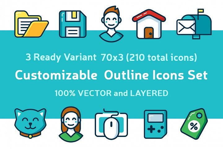 Customizable Outline Icons Set - Free Design of The Week