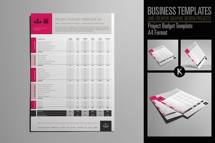 Project Budget Template A4 Format