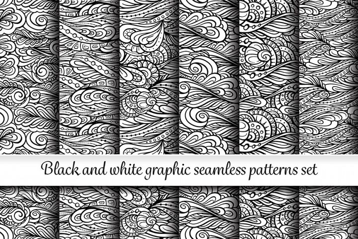 Black and white graphic seamless paterns set