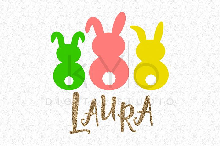 3 Easter Bunnies Easter Bunny Rabbit SVG DXF PNG EPS files Cotton tail