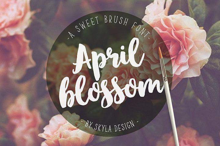 Bold script brush font, April blossom