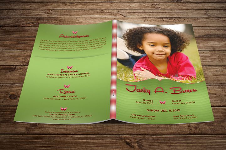 Child Funeral Program Template Photoshop