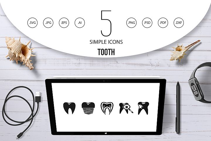 Tooth icon set, simple style