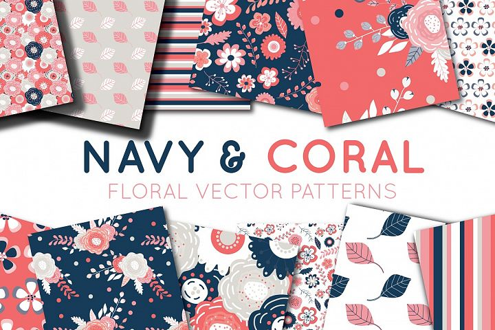 Navy and Coral Vector Digital Paper