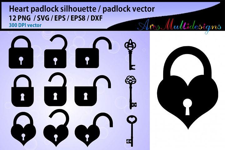 heart padlock silhouette / padlock silhouette svg / padlock and key silhouette vector