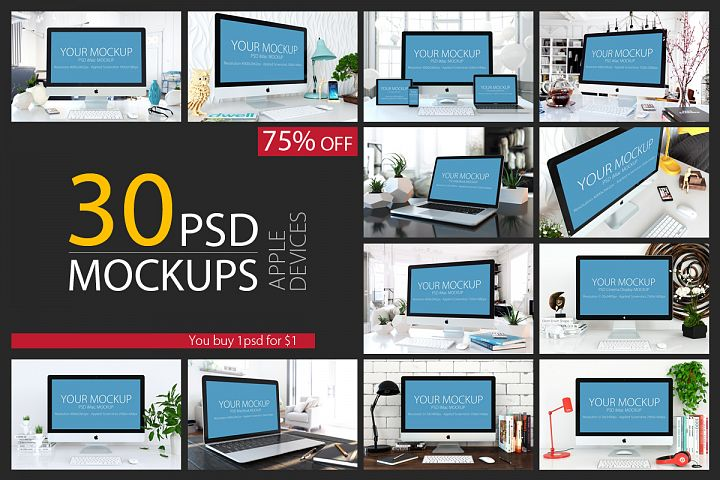 30 PSD Mock-ups Apple Devices