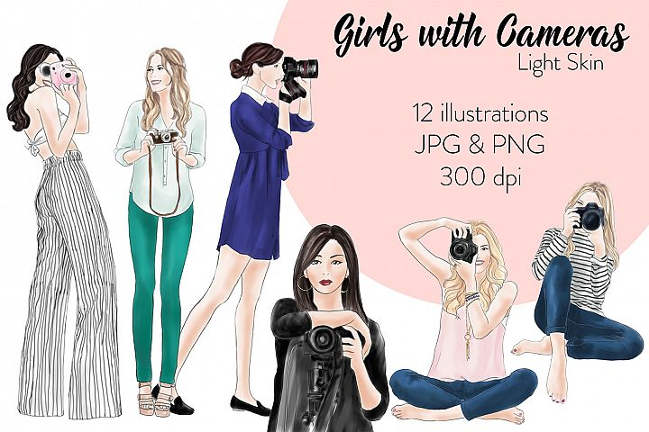 Fashion illustration clipart - Girls with Cameras - Light skin