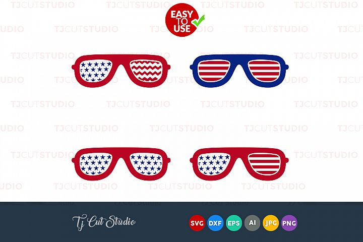 Glasses svg, 4th of july svg, patriotic svg, Files for Silhouette Cameo or Cricut, Commercial & Personal Use.