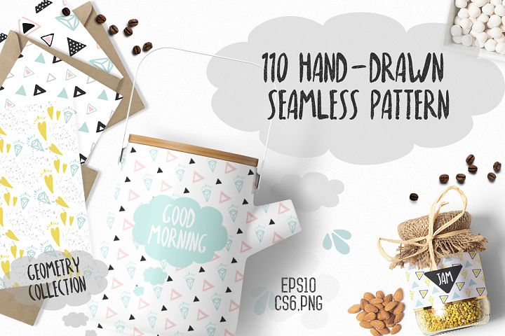 110 Hand-Drawn Geometric Patterns - Free Design of The Week