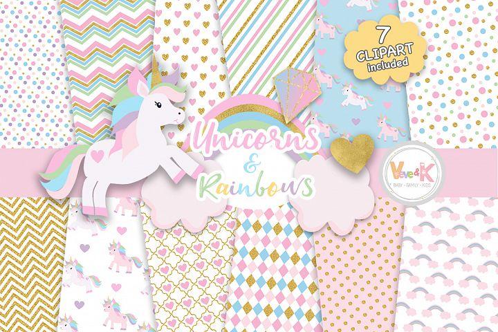 Unicorns Clipart, Rainbow Clipart, Unicorn Digital Papers, Rainbow Clipart, Rainbow Papers, Unicorn Baby Shower, Gold Glitter Unicorn
