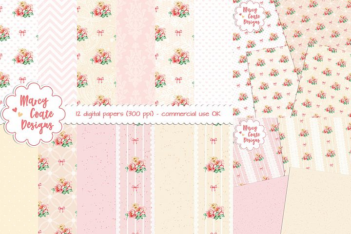 Yellow & Pink Watercolor Roses Digital Papers set of 12 pattern papers