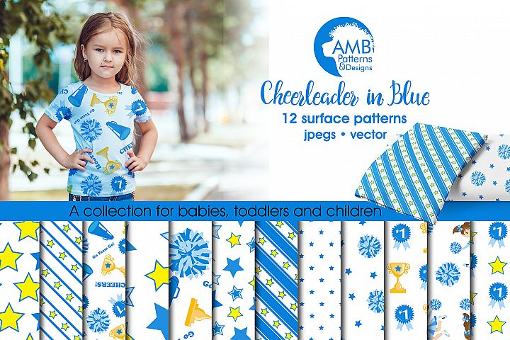Cheerleader in Blue patterns,Cheerleader blue papers AMB-887