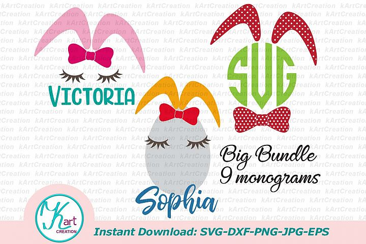 bunny ears monogram svg, file, bunny face svg, circle monogram svg, girls easter, boys easter, svg, bunny monogram svg, rabbit ears svg, dxf