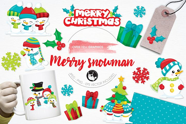 Merry Snowman graphics and illustrations