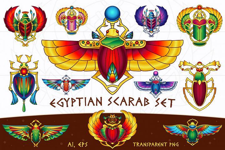 Egyptian Vector Scarab Set