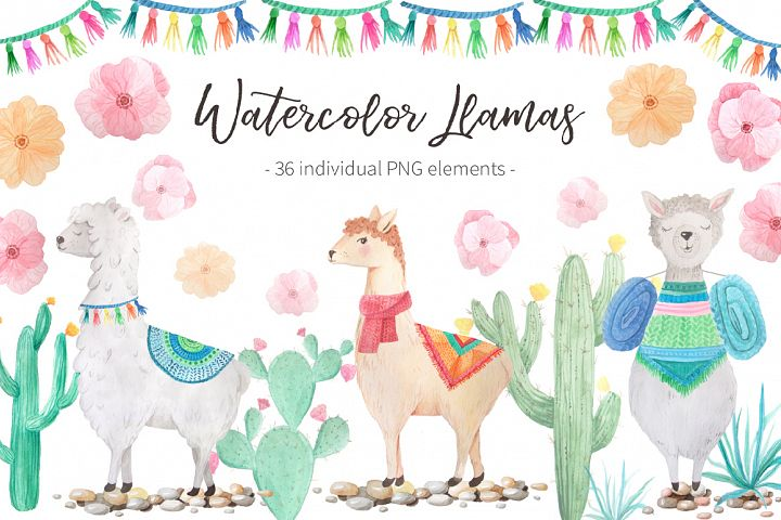 Watercolor Llamas example 1