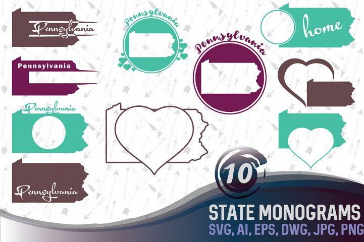 Pennsylvania Monograms SVG, JPG, PNG, DWG, CDR, EPS, AI