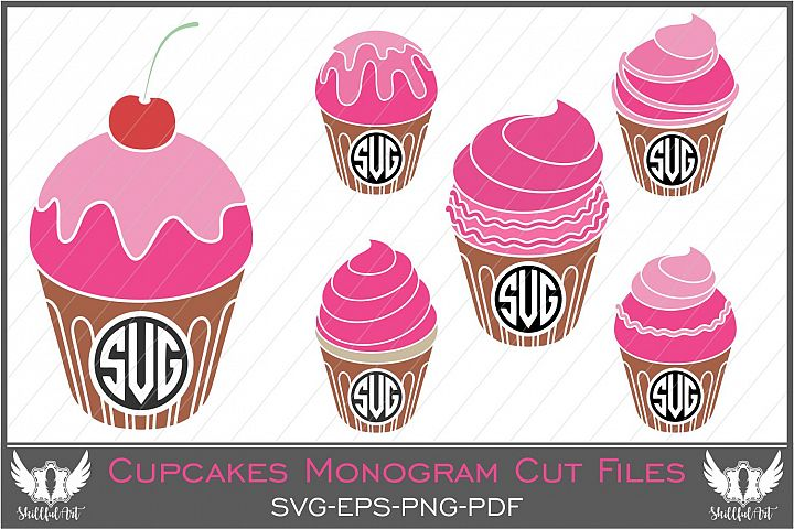 cupcake monogram, cupcake svg, baking svg, cake svg, monogram svg, kitchen monogram, cricut, silhouette cameo