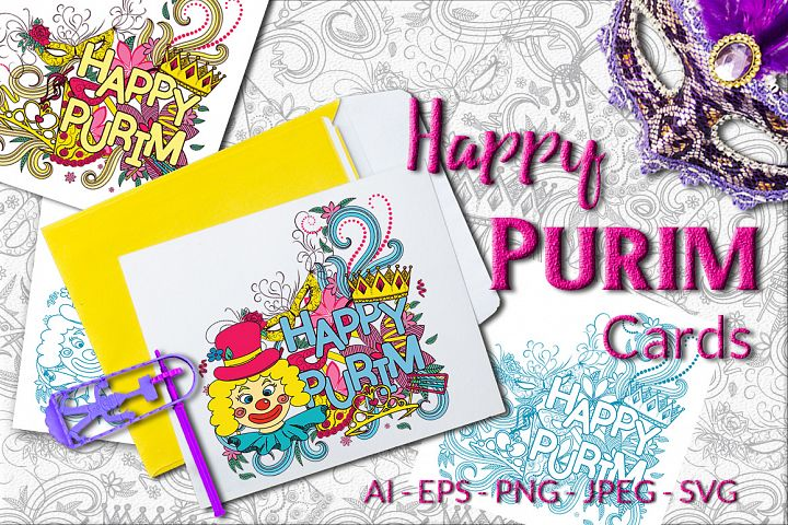 Happy Purim - Vector Cards