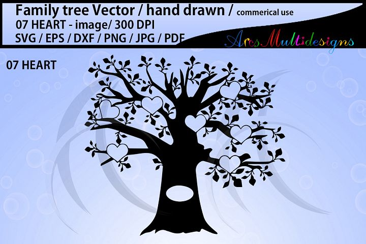 family tree silhouette SVG, EPS, Dxf, Png, Pdf, Jpg / family tree clipart / hand drawn family tree svg / vector / Commerical use / 07 heart set