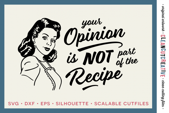 YOUR OPINION IS NOT PART OF THE RECIPE! Funny Kitchen quote - retro/vintage - SVG DXF EPSPNG - Cricut & Silhouette