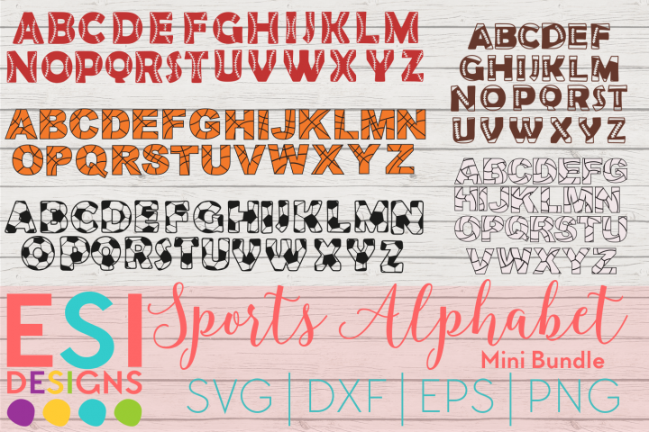 Sports Alphabet Mini Bundle | SVG DXF EPS PNG Cutting Files