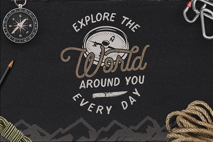 Vintage Travel Logo / Explorer Badge Retro Design
