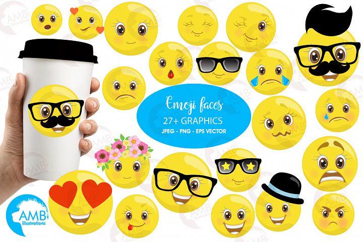 Emoji faces clipart, graphics illustrations AMB-2250