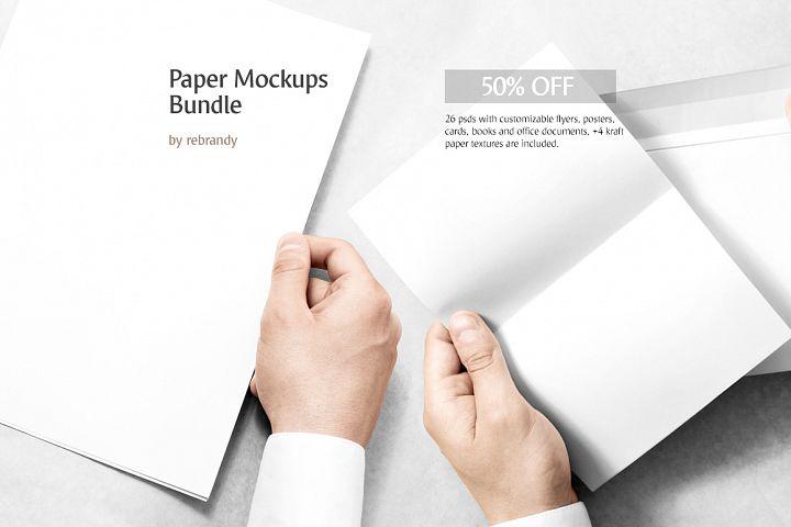 Paper Mockups Bundle (business card mock up, flyer mock-up, book mockups, postcard mockup, magazine mock up)