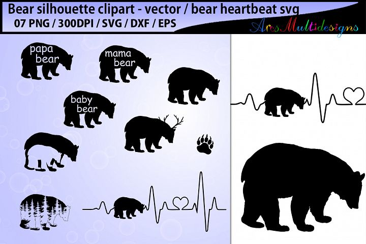 bear svg silhouette vector / mama bear svg cut / papa bear svg / family bear svg / bear heartbeat svg