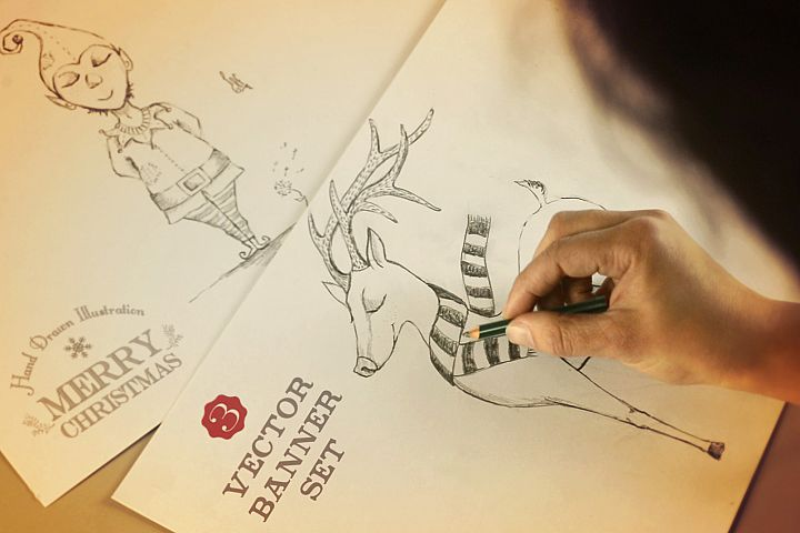 Merry Christmas hand drawn set + label design