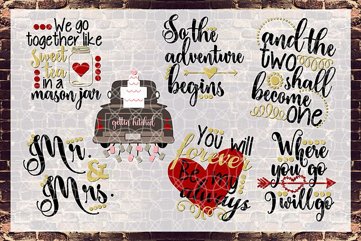 Wedding Engagement Bundle Svg, Dxf, Png Commercial & Personal Use