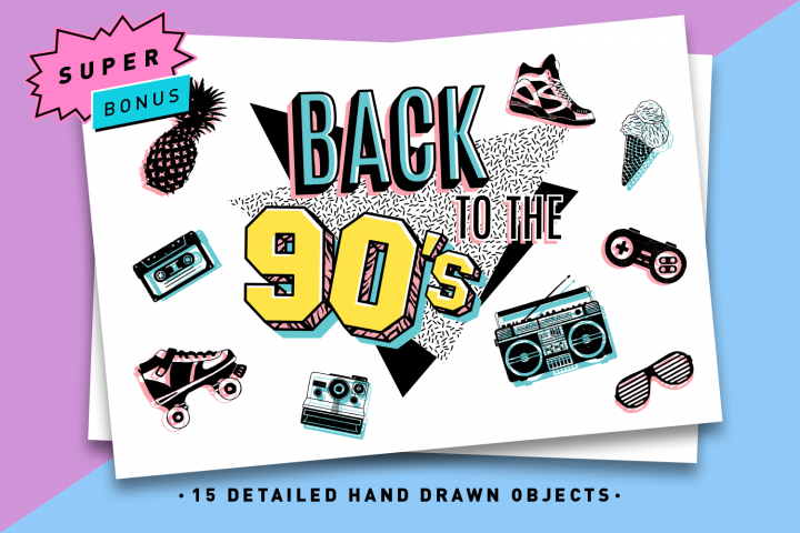 Back to the 90s. Hand Drawn Icons